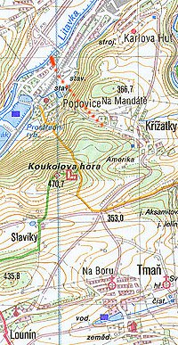 Mapa okolí Popovic s předpokládanou trasou tornáda (plná čára znázorňuje oblast dotyku tornáda se zemí dle současných informací).