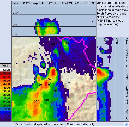 Radarový obrázek z 00 SELČ, lokalita je približně označena nitkovým křížem.   © ČHMÚ